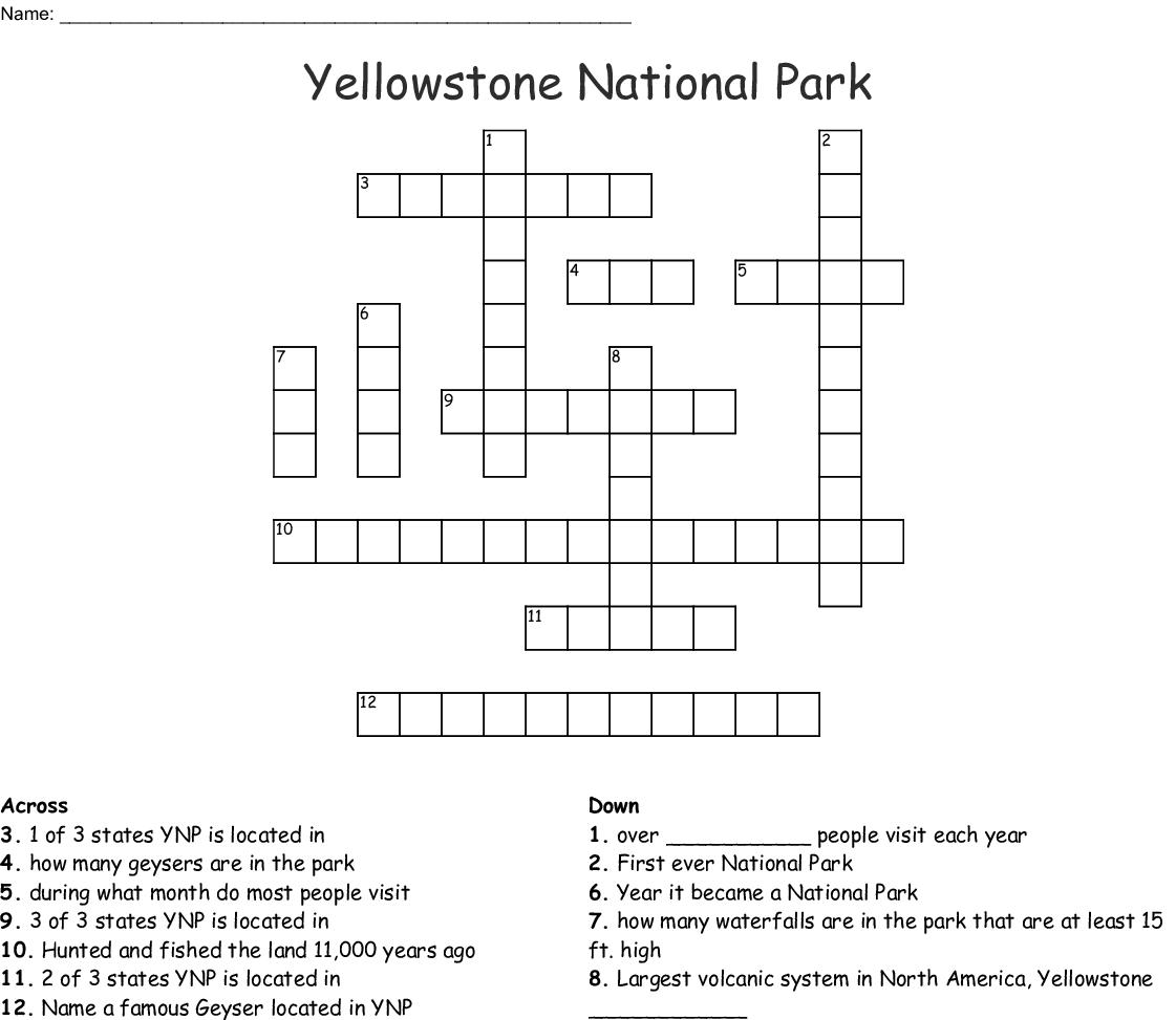 Yellowstone National Park Crossword Wordmint