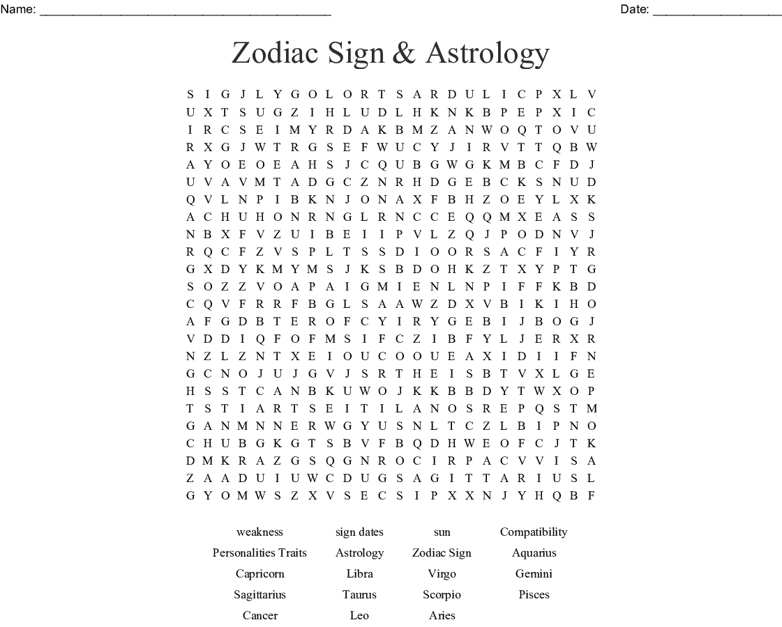 Zodiac Sign Astrology Word Search Wordmint