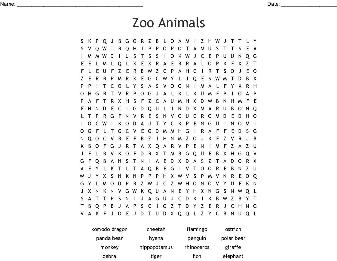 Animal Kingdom Word Search