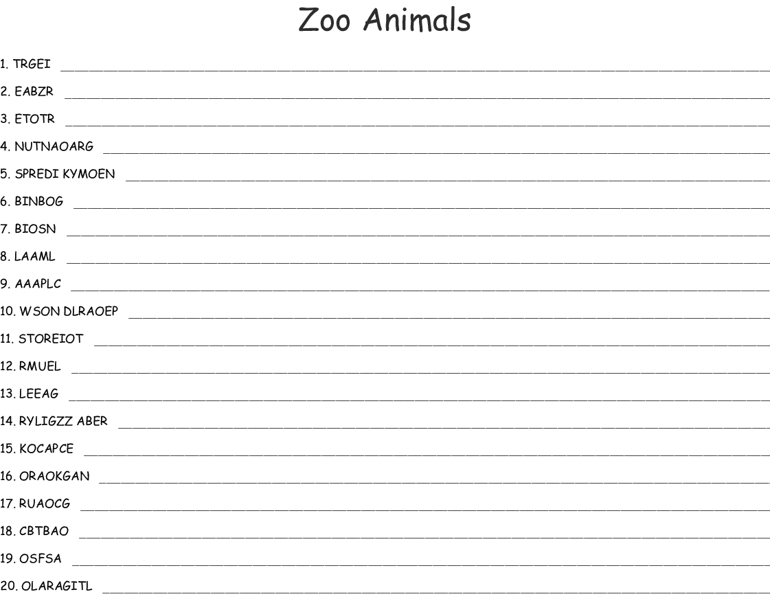 Zoo Animals Word Scramble - WordMint