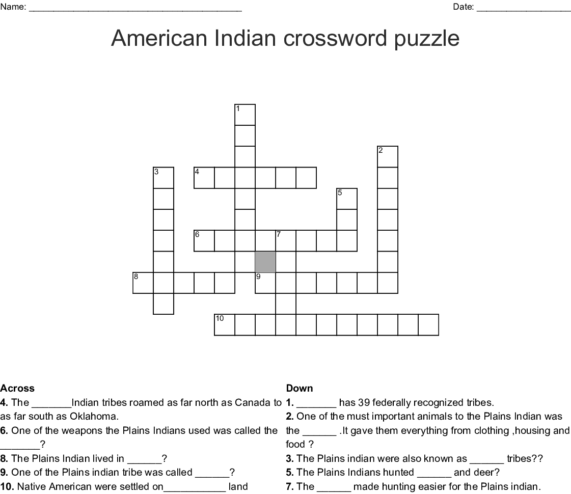 Native American Tribes Crossword - WordMint