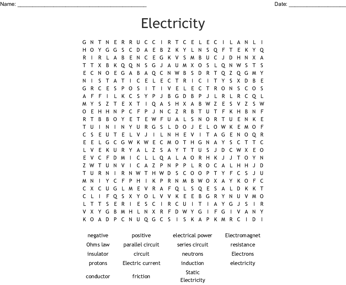 Electricity Word Search - WordMint