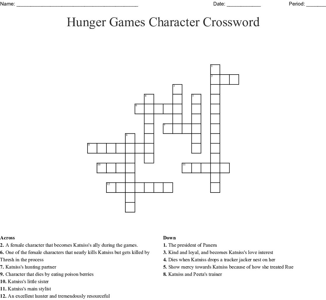Hunger Games Character Crossword Wordmint