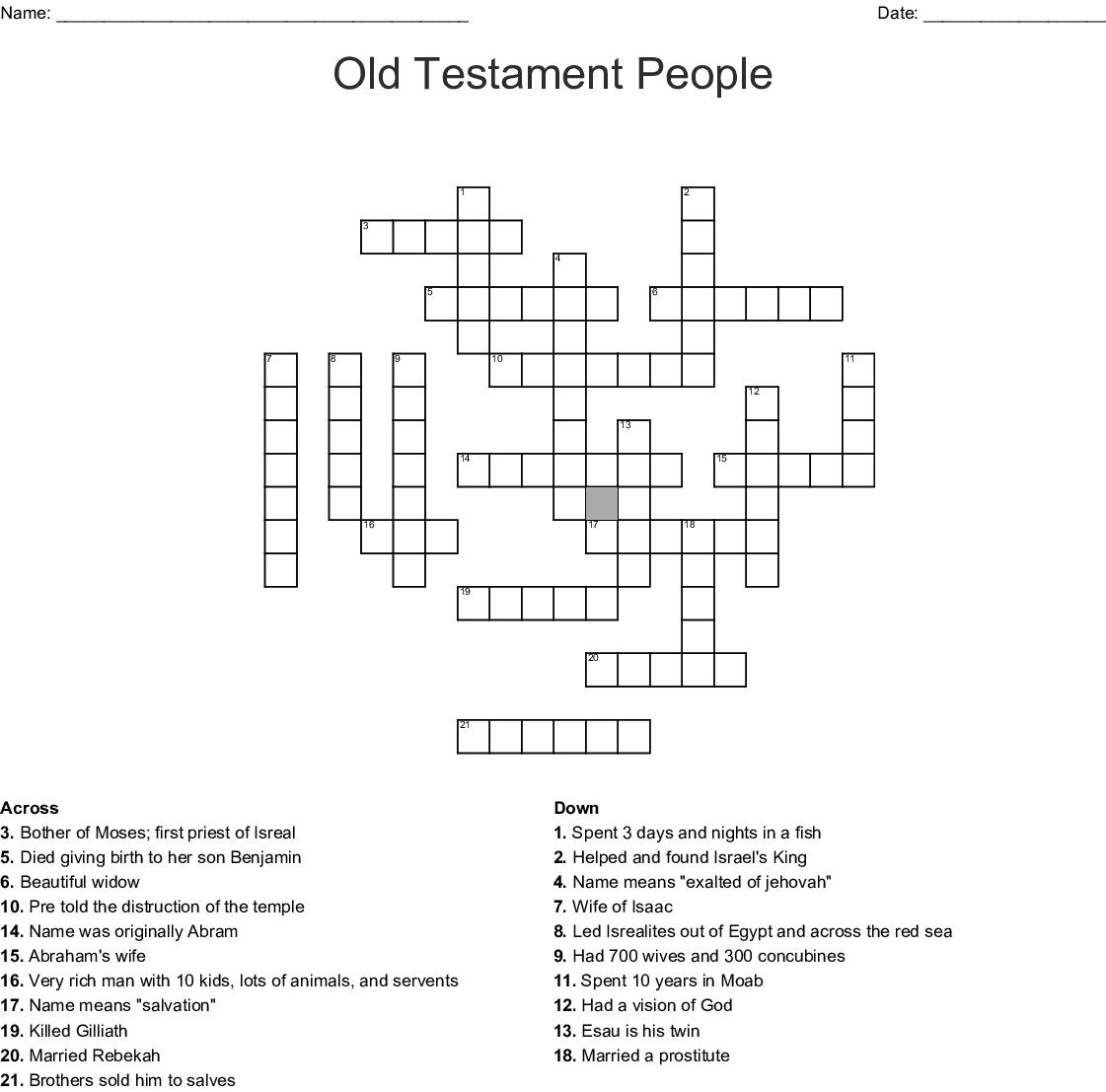 Old Testament People Crossword - WordMint