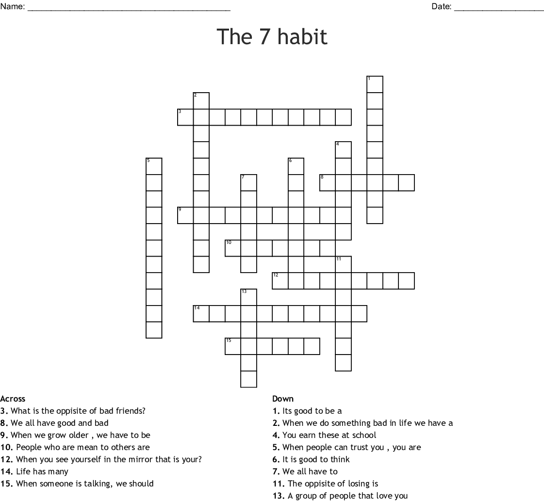 7 Habits of Highly Effective Teens Crossword - WordMint