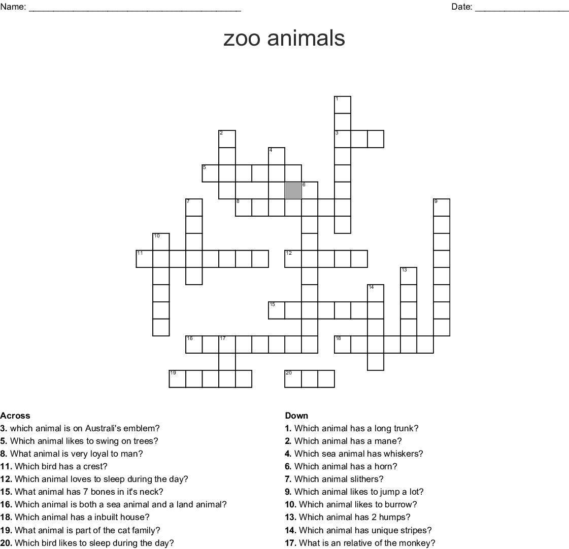 Australian Animal Crossword - WordMint