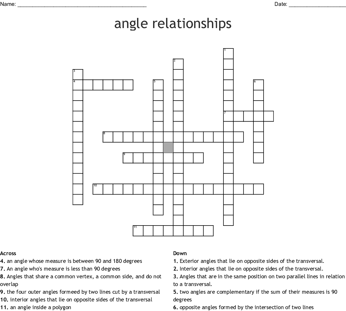 Geometry Angle Relationships Worksheet Answer Key ...