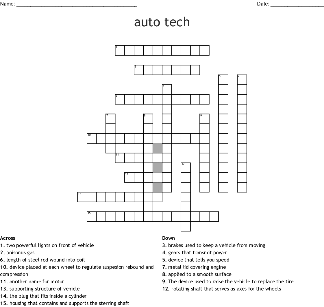 Auto Tech Crossword Wordmint