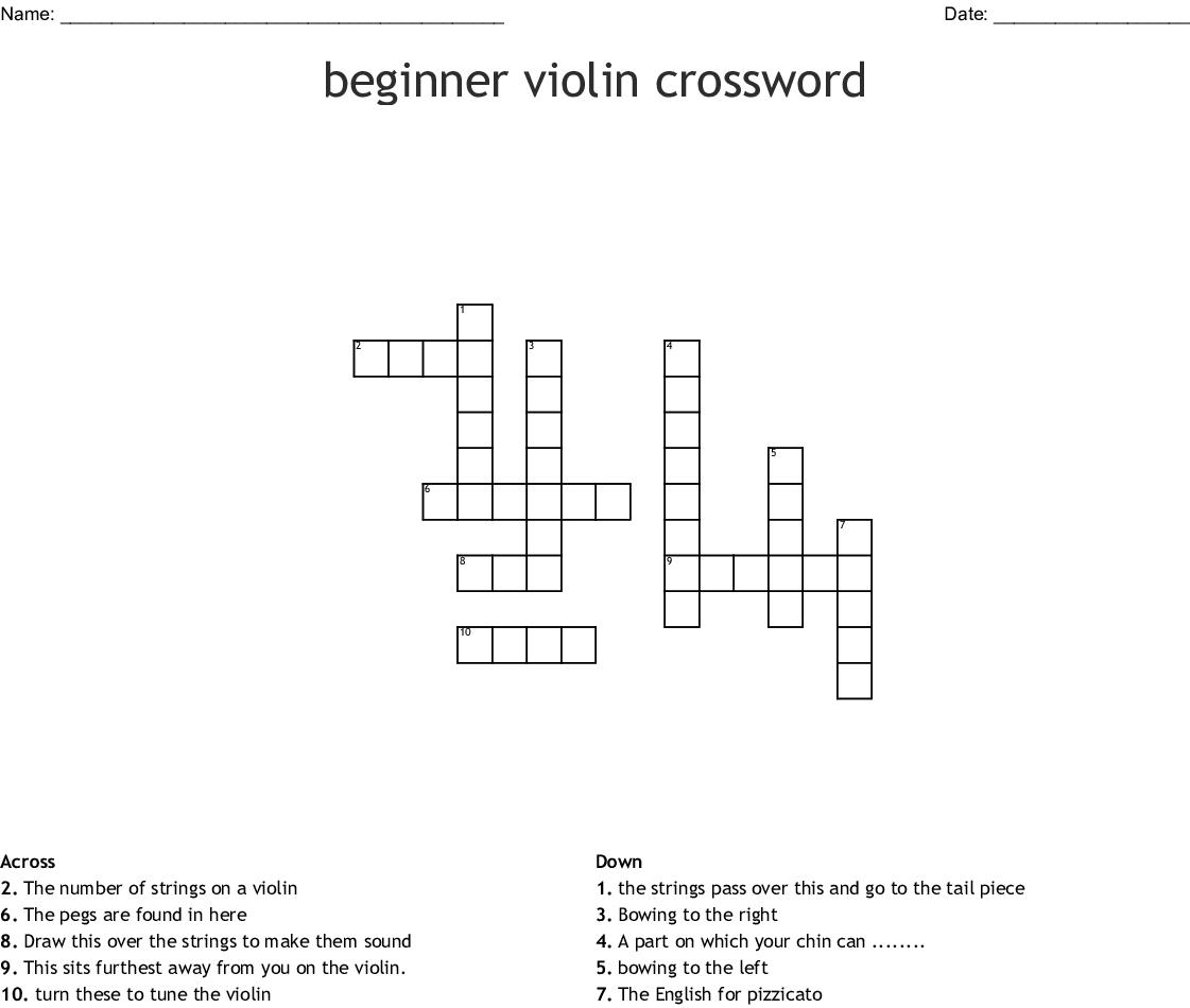 Beginner Violin Crossword Wordmint