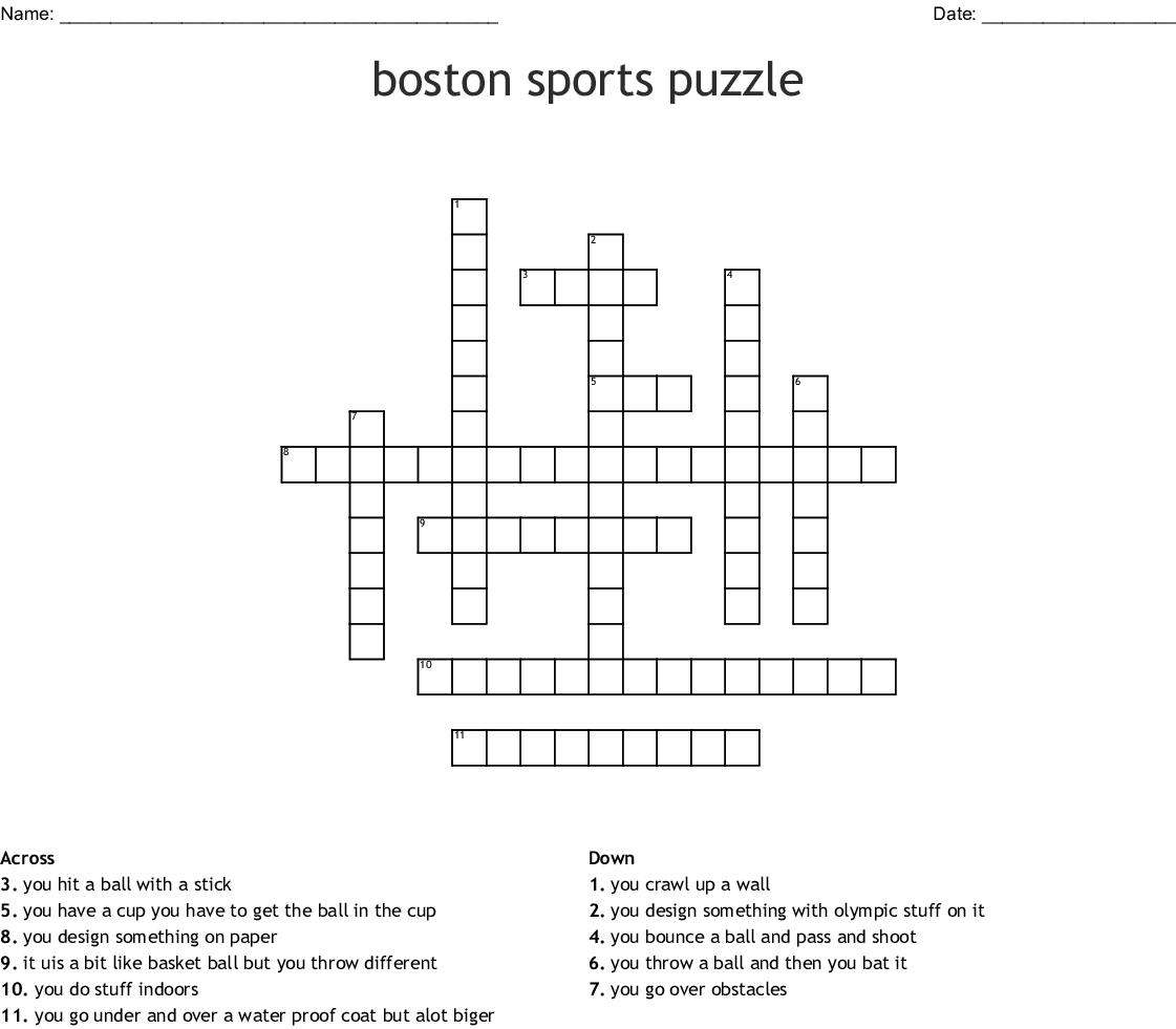 boston sports puzzle Crossword - WordMint