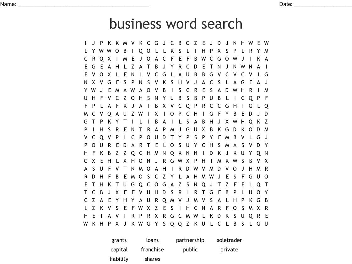 Business Studies Wordsearch Wordmint