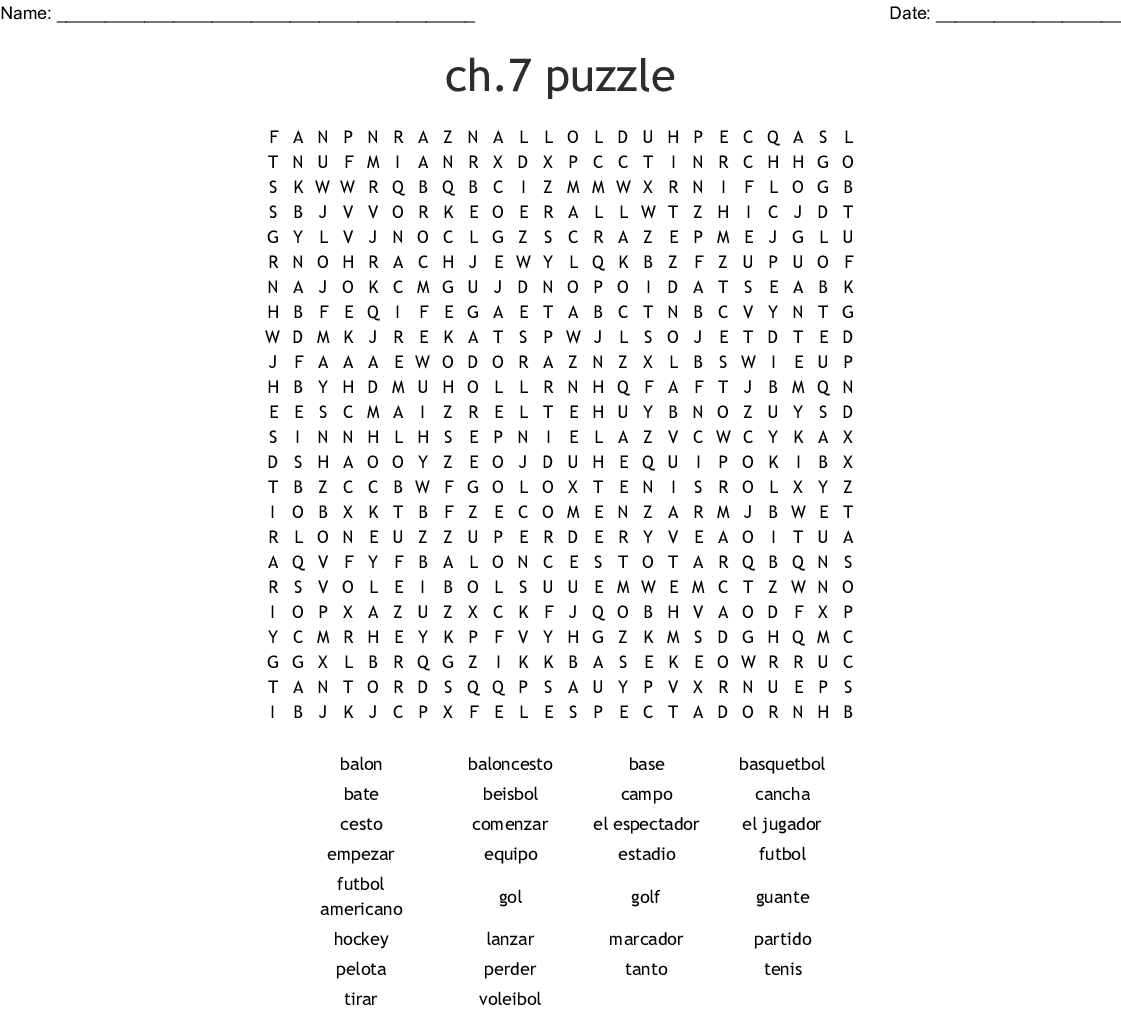 Spanish Chapter 7 Vocab Word Search - WordMint