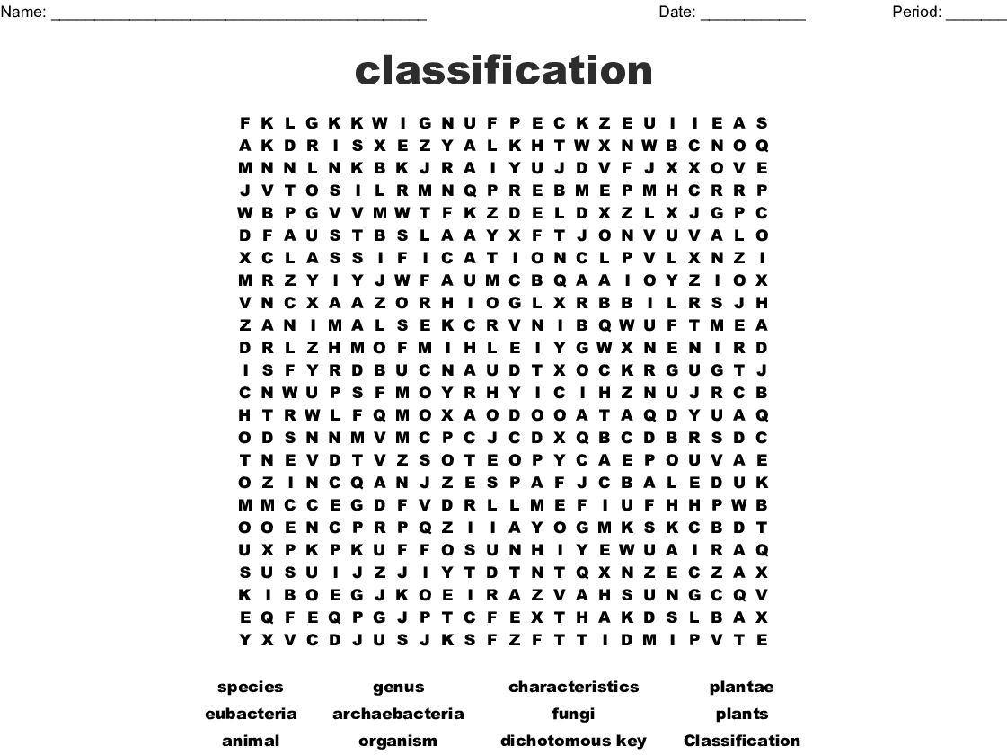 classification Word Search - WordMint