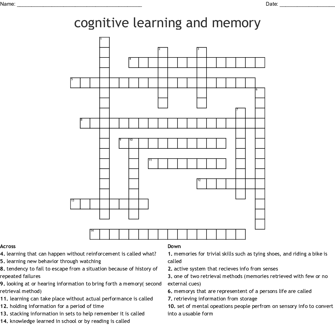 Cognitive Learning And Memory Crossword Wordmint