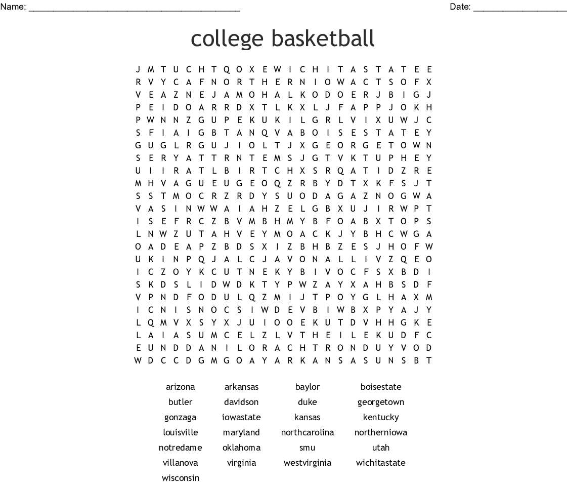 college basketball Word Search - WordMint