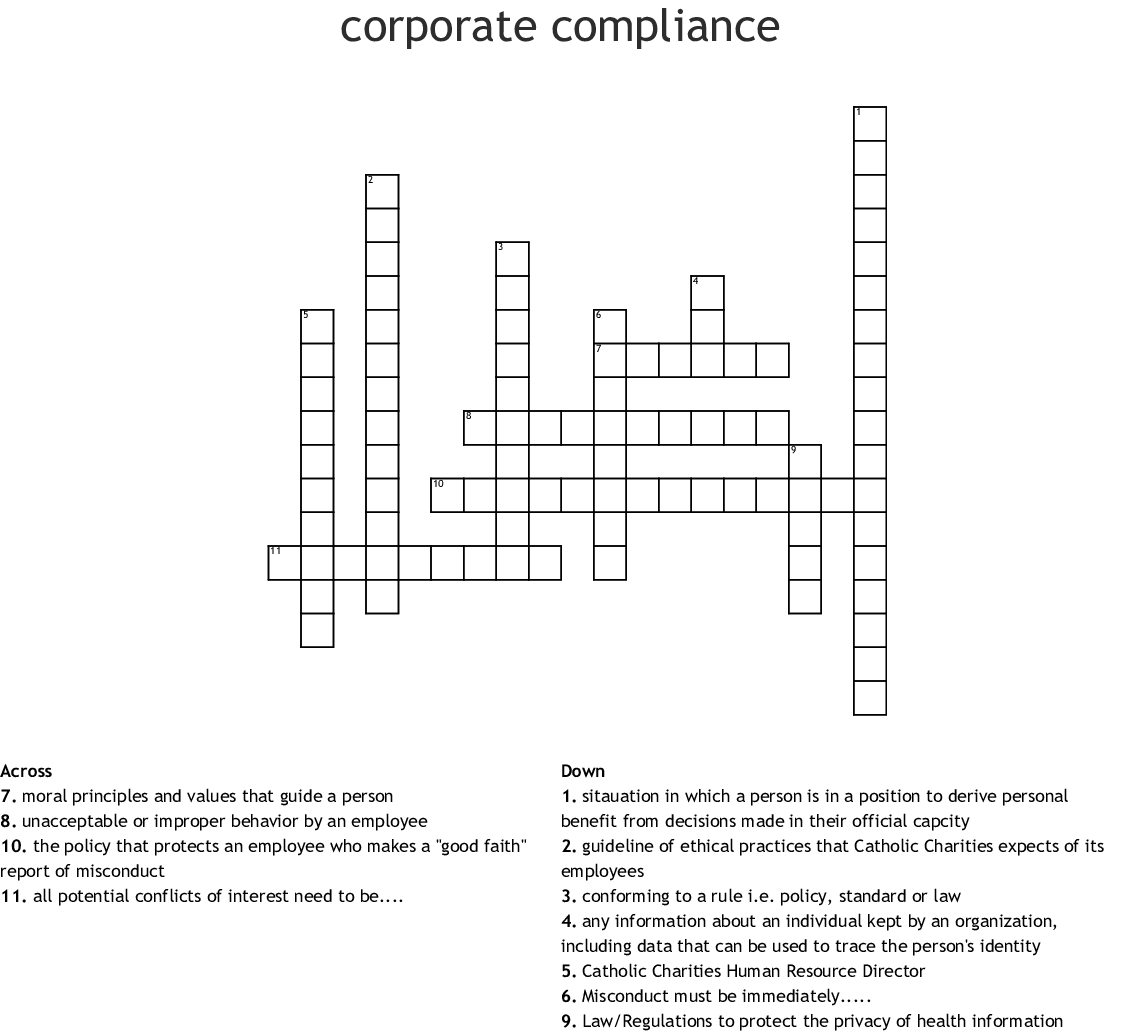 corporate compliance Crossword - WordMint