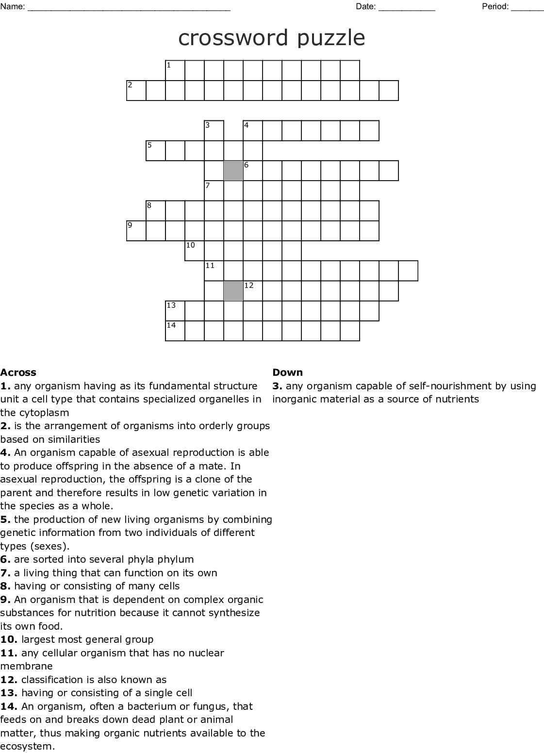 crossword puzzle - WordMint