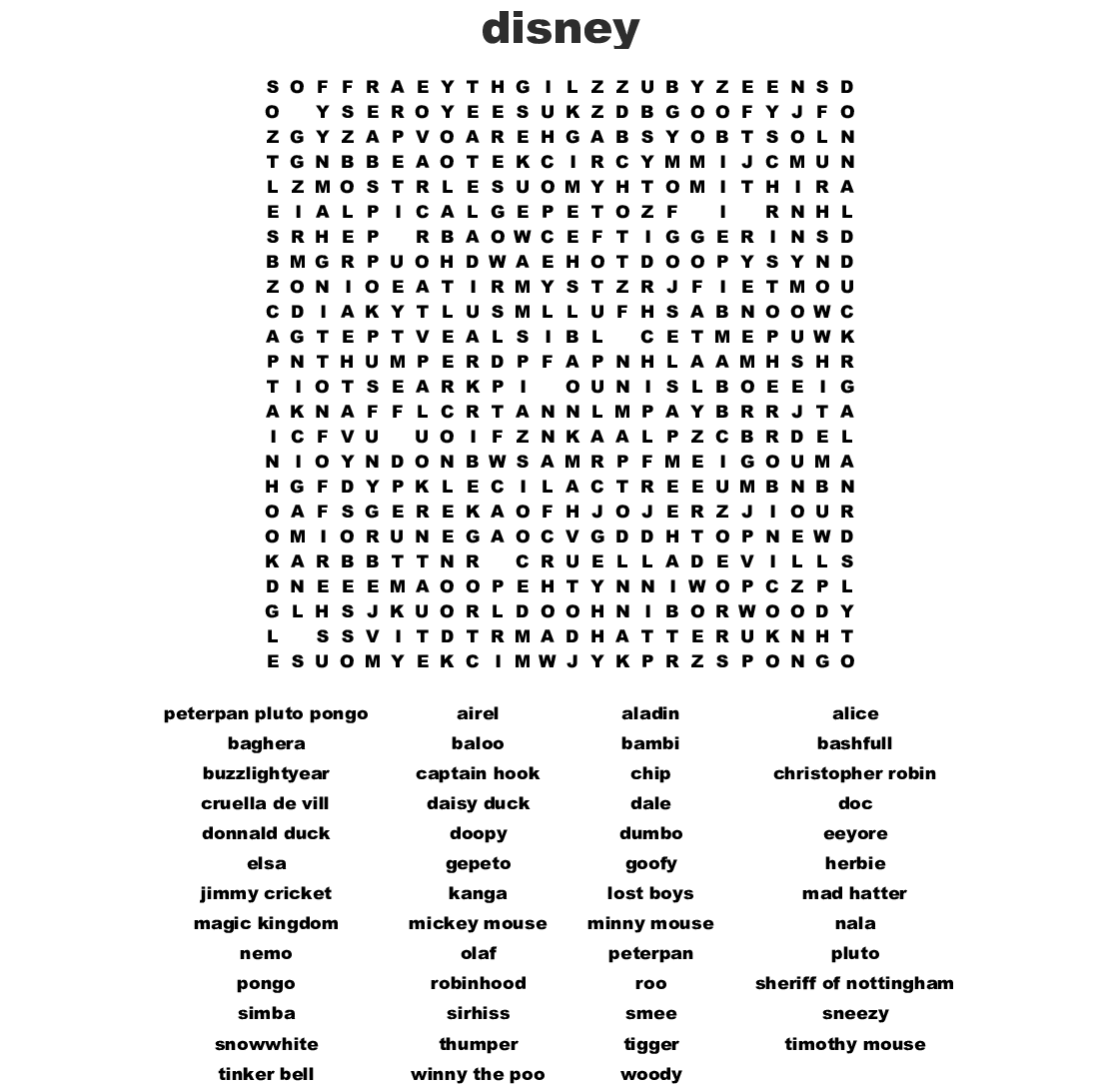 photo relating to Disney Word Search Printable called Disney Figures Term Glance - WordMint