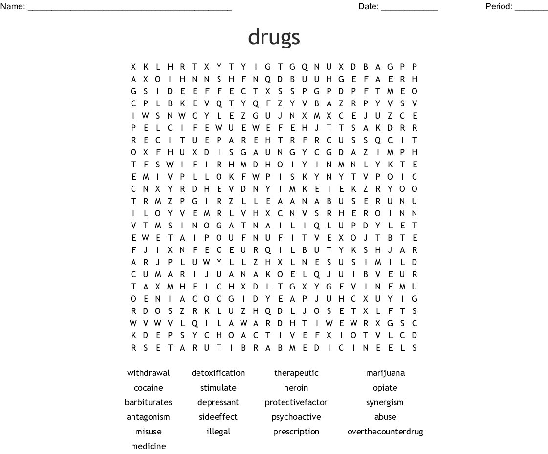 Drugs Word Search