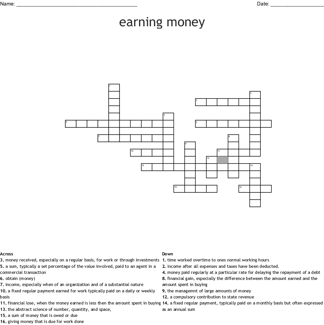 Earning Money Crossword Wordmint