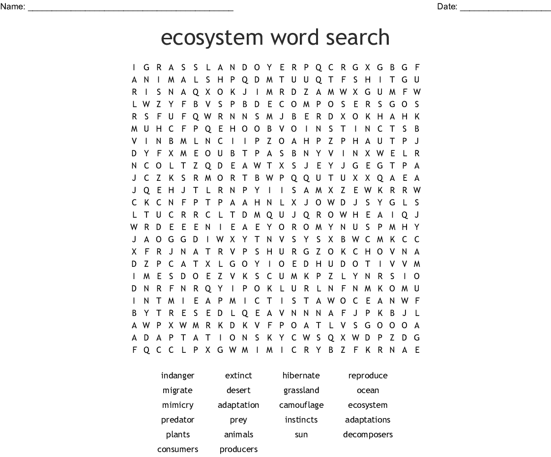 picture regarding Animals Word Search Printable identified as Adaptation Term Look - WordMint