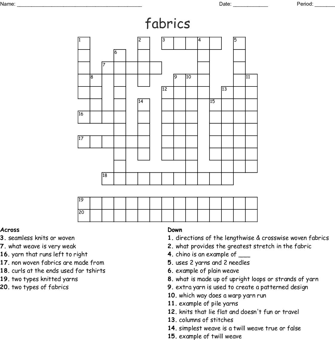 20 Textile Words Crossword Wordmint