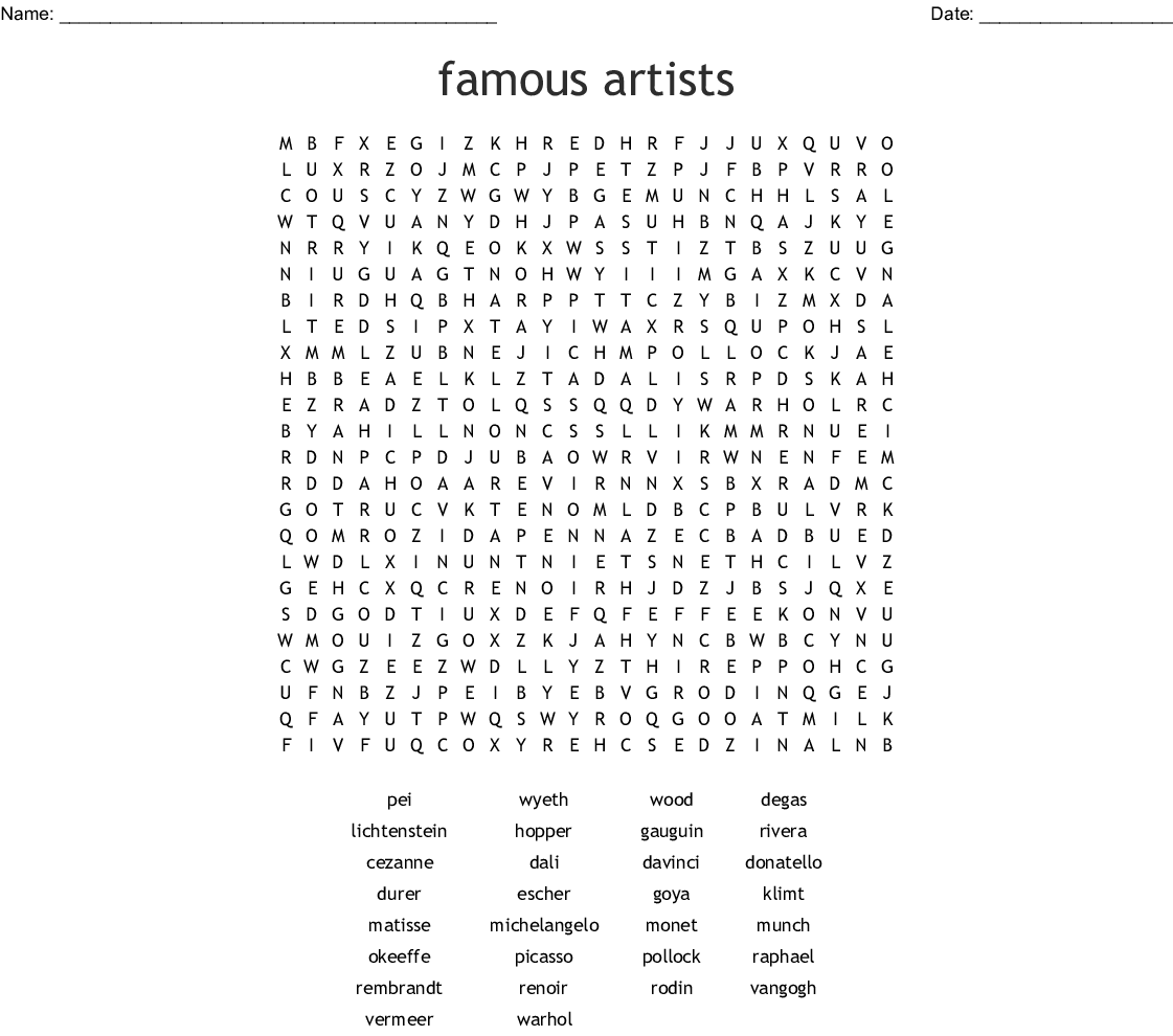 famous artists Word Search - WordMint