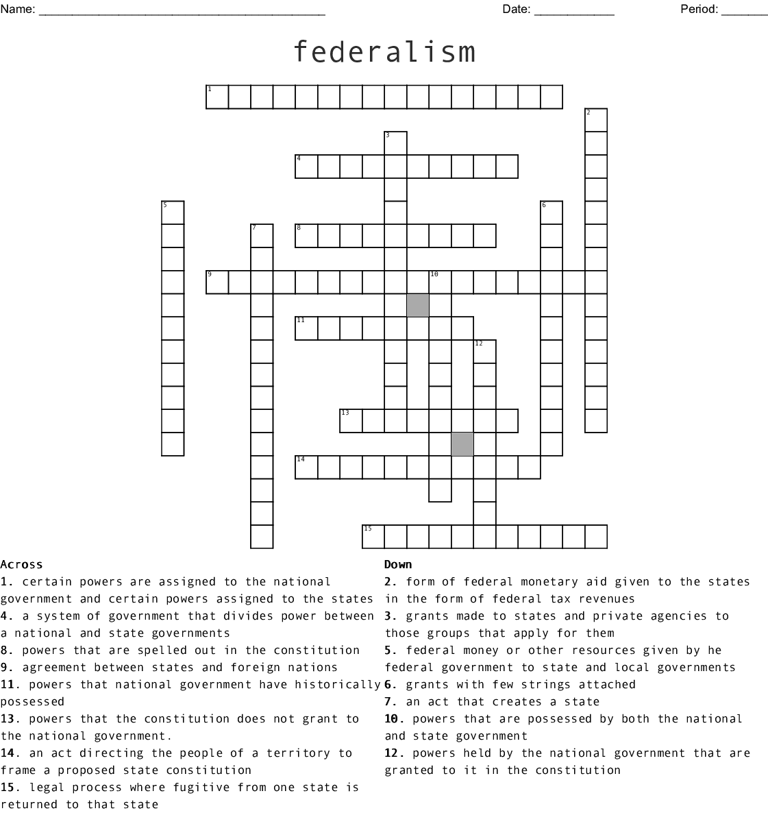 The Federal In Federalism Worksheet Answers Icivics ...