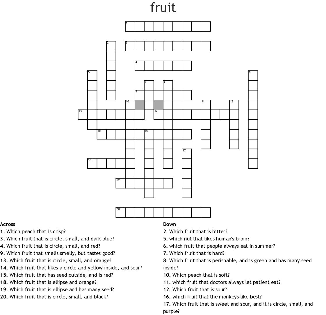 Fruit Crossword Wordmint