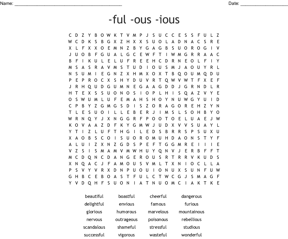 Adjective Suffixes (-ful, - ous, -ious) Crossword - WordMint