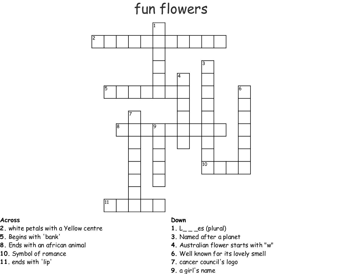 Fun Flowers Crossword Wordmint