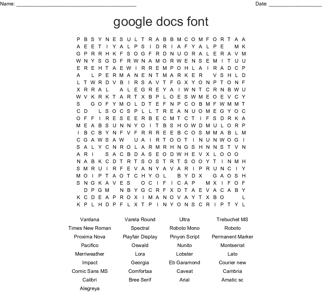Fonts of the World Word Search - WordMint