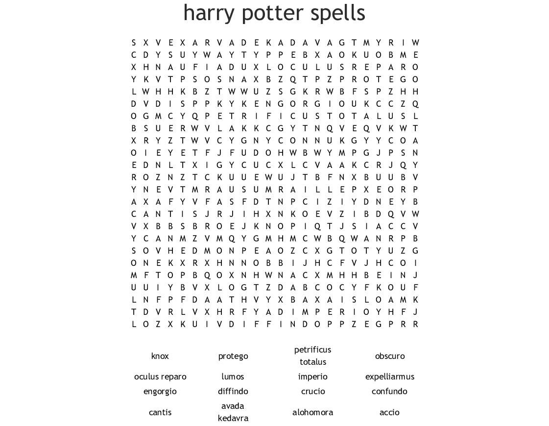 Harry Potter Spells Crossword - WordMint