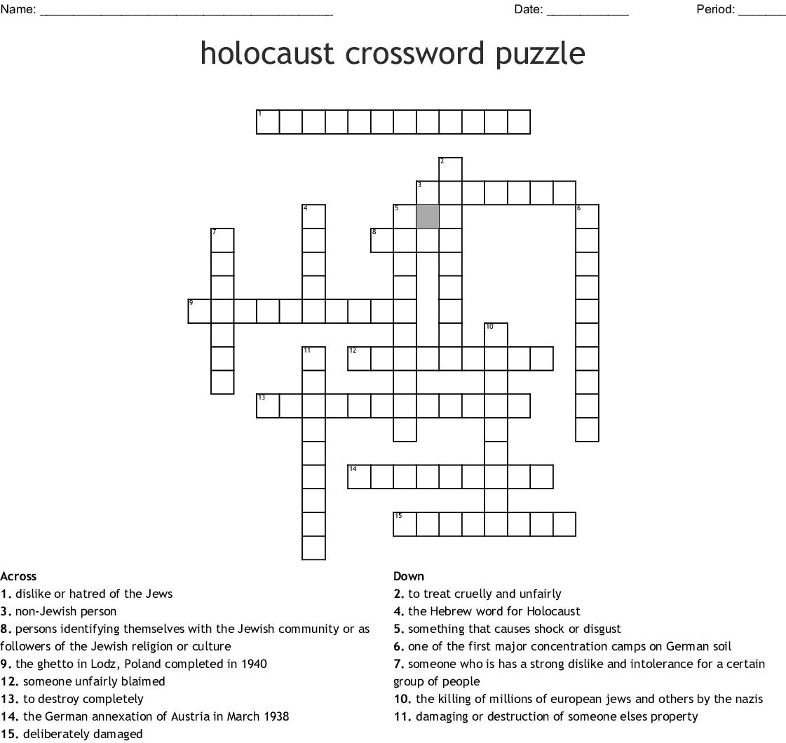 Holocaust Crossword Puzzle Wordmint