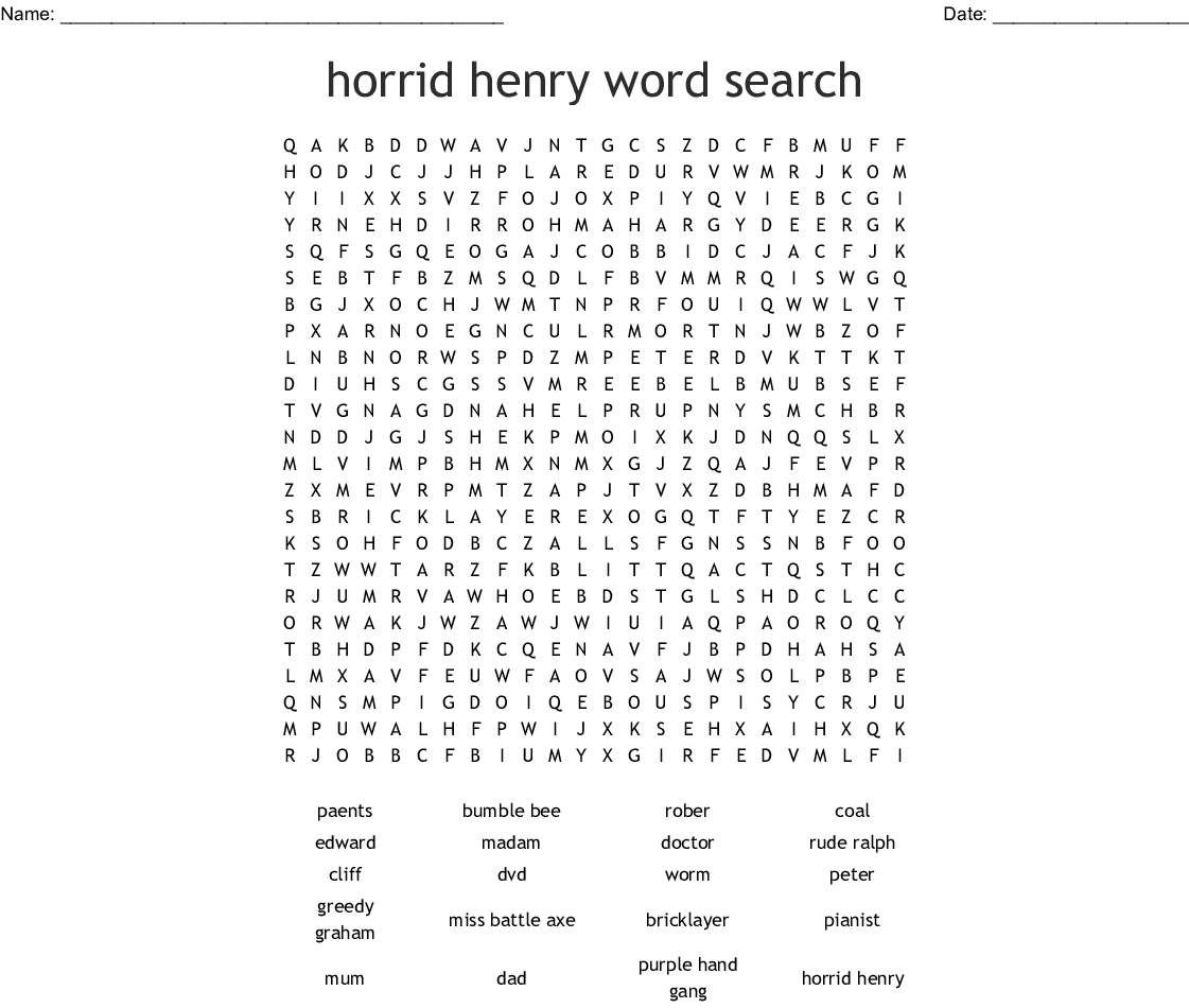 Horrid Henry Word Search