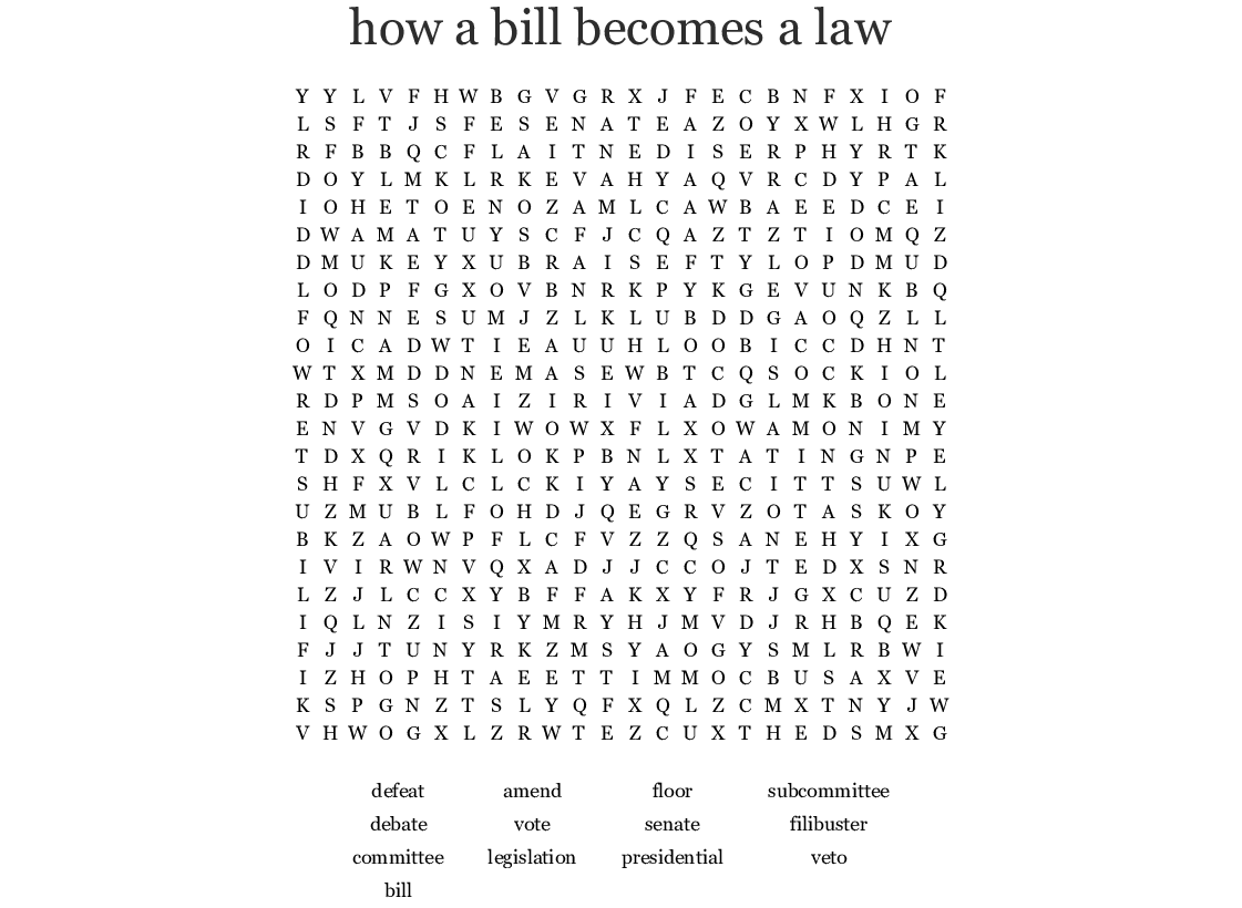 how a bill becomes a law Word Search - WordMint