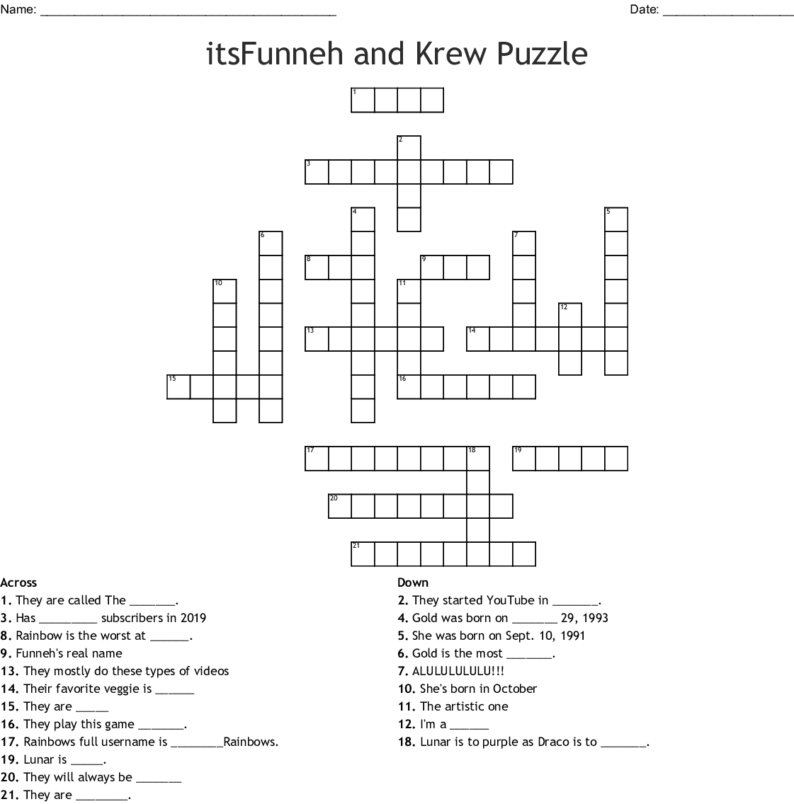 Itsfunneh And Krew Puzzle Crossword Wordmint