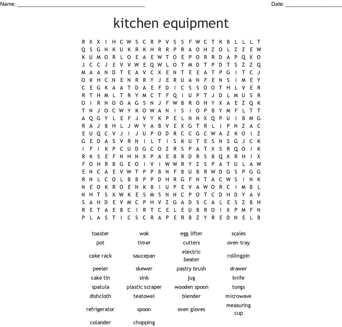 Common Kitchen Utensils Crossword - WordMint