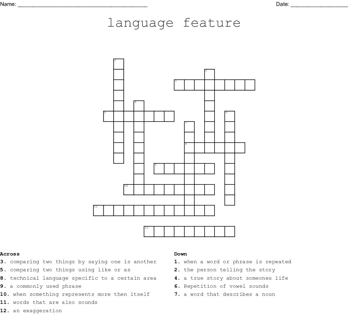 Language Feature Crossword Wordmint