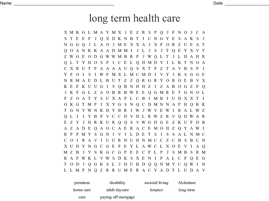 Assisted Living Long Term Care Crosswords Word Searches Bingo