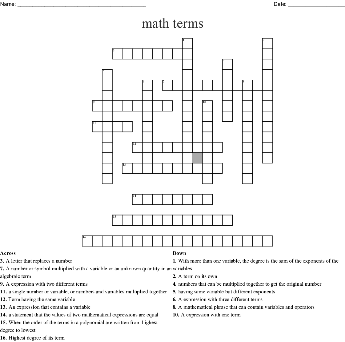 Algebra Vocabulary Crossword - WordMint