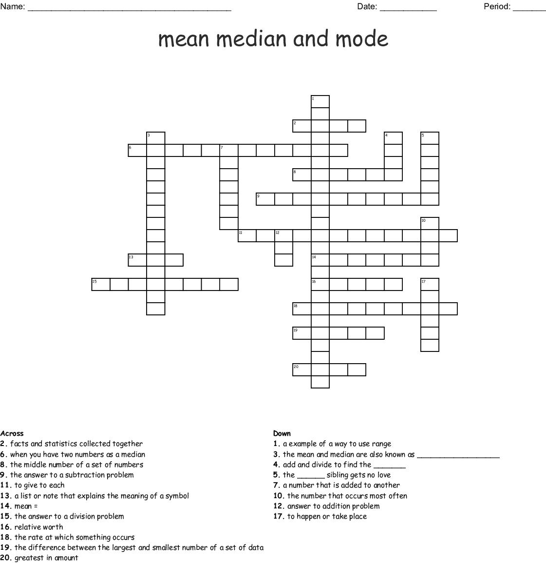 Mean Median Mode And Range Crossword Wordmint