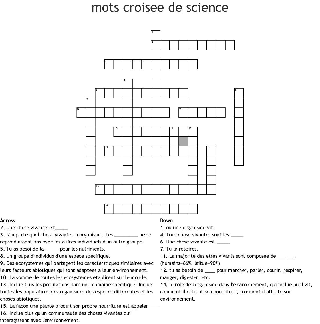 Mots Croisés De Lenvironnement Crossword Wordmint