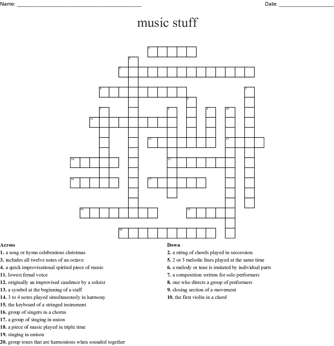 Music Terms Crossword Wordmint
