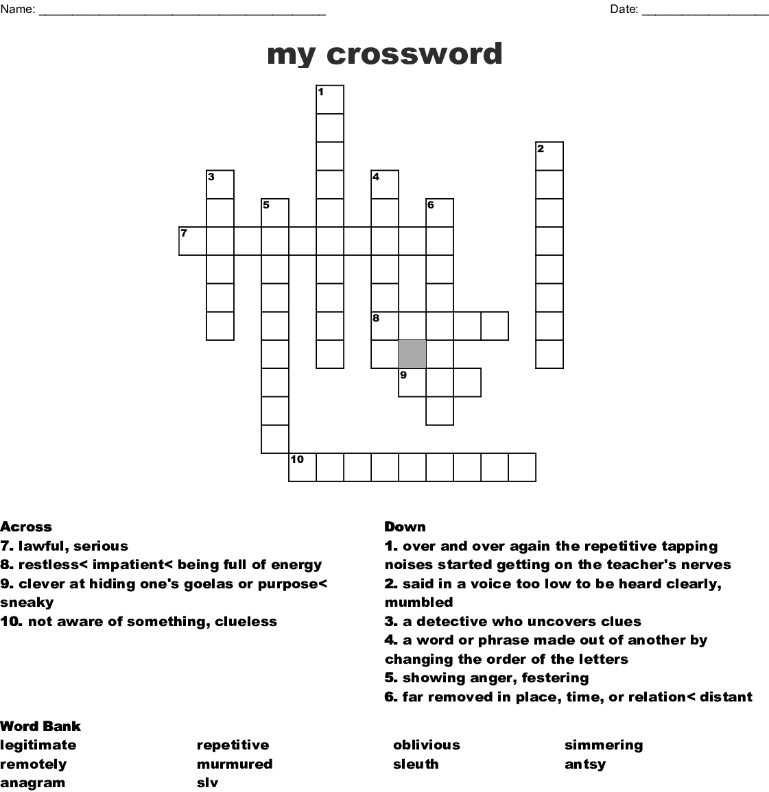 My Crossword Wordmint