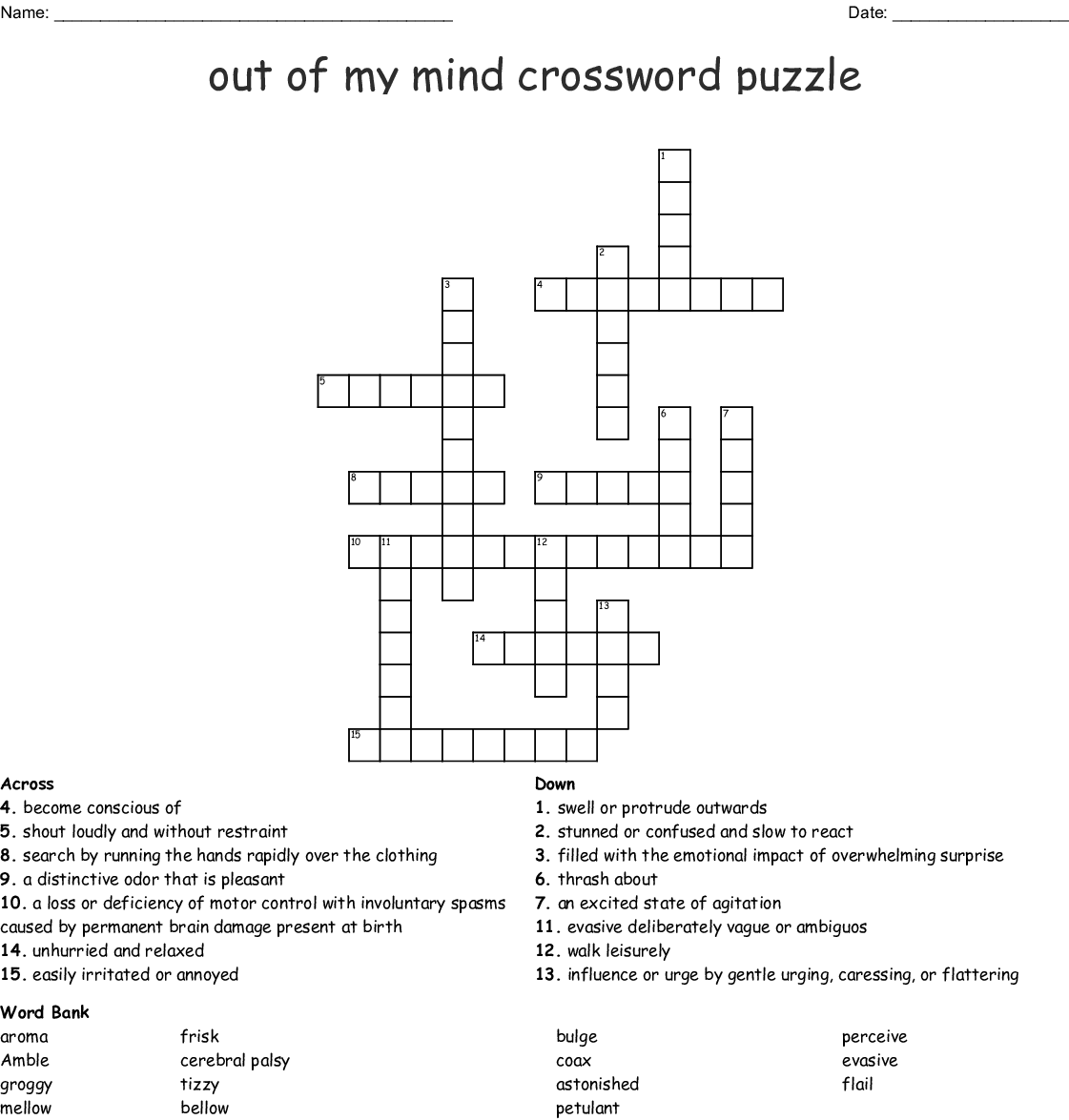 Out Of My Mind Crossword Puzzle Wordmint