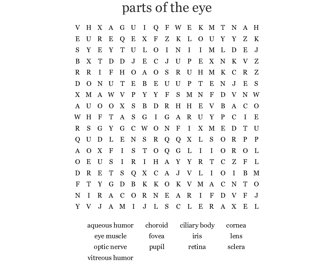Parts Of The Eye Word Search Wordmint