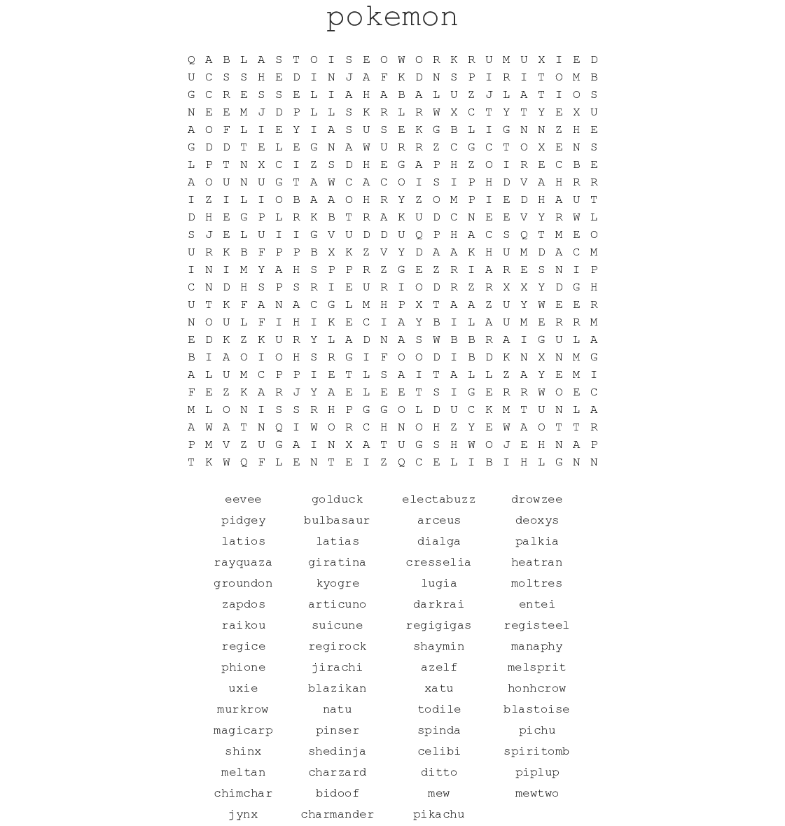 picture relating to Pokemon Word Search Printable referred to as Mythical Pokemon Term Look - WordMint
