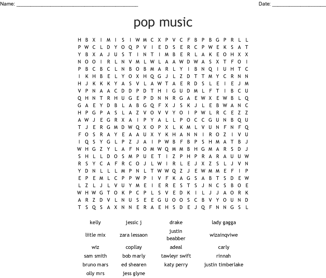 image about Music Word Search Printable identify pop new music Phrase Glimpse - WordMint