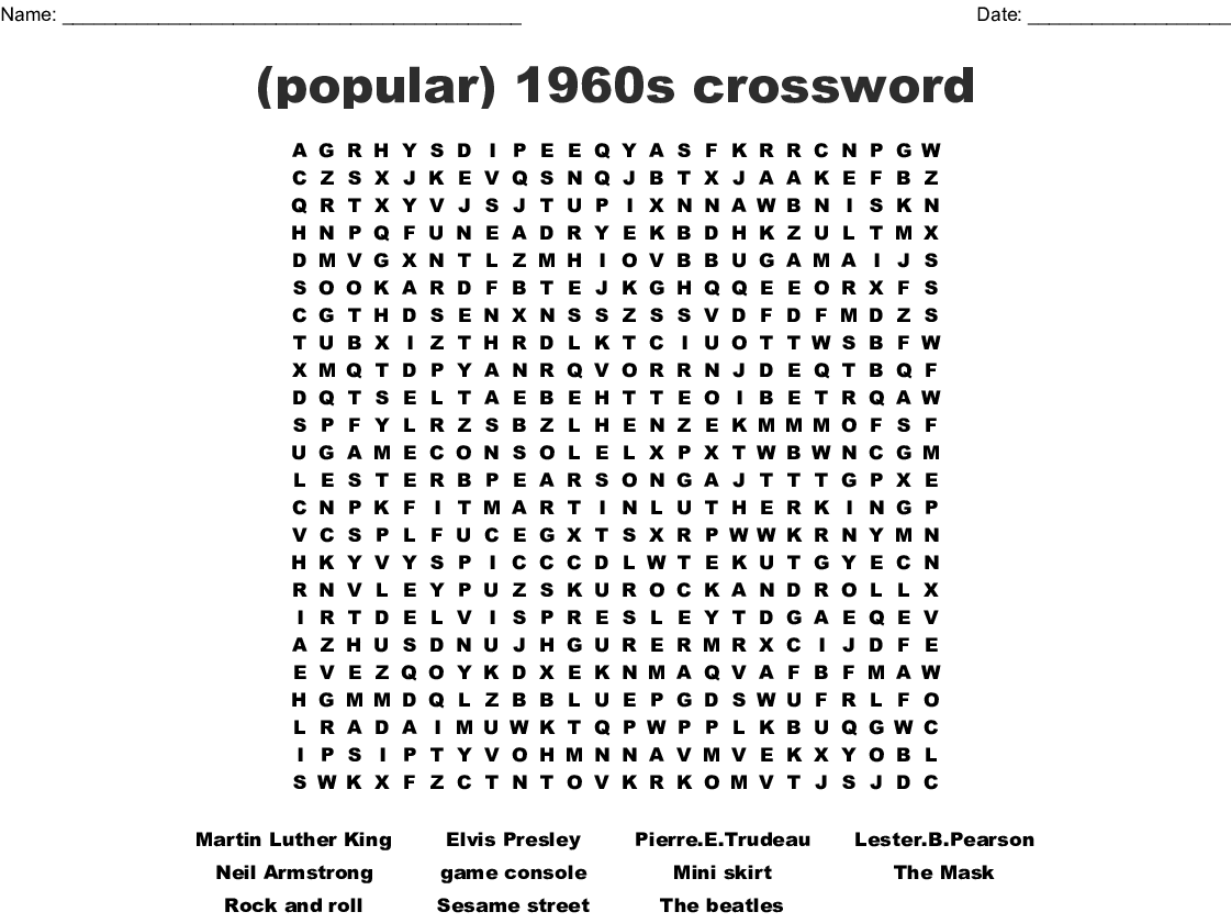 photograph about Martin Luther King Word Search Printable known as outstanding) 1960s crossword Term Glance - WordMint